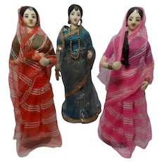 Vintage Trio of Cloth India Doll with Sari