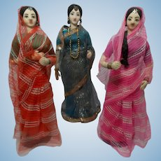 Vintage Trio of Cloth India Doll with Sari