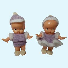 Irwin Powder Shaker Celluloid Kewpie Dolls with Crocheted Clothes