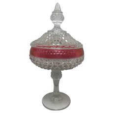Vintage Diamond Point Ruby Flash Banded Compote by Indiana Glass