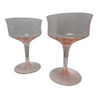 Vintage Tiffin-Franciscan Pink Champagne/Tall Sherbet Glasses
