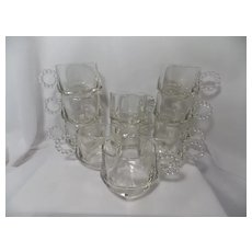 Vintage Hazel Atlas Orchard Crystal Punch Cups with Beaded Handles