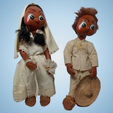 Vintage Papier Mache Mexican Bride and Groom Dolls