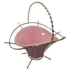 Vintage Miramar of California Pottery Bowl with Gold Tone Metal Basket