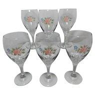 Pfaltzgraff Tea Rose Design Libbey Wine Goblets