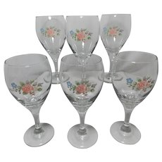 Pfaltzgraff Tea Rose Design Libbey Wine Goblets
