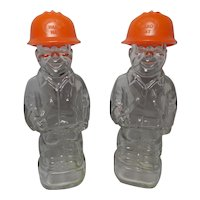 Vintage Mennen Hard Hat Worker Bottles pair of 2