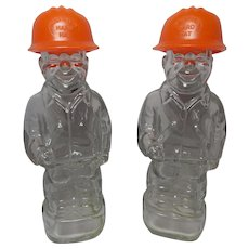 Vintage Mennen Hard Hat Worker Bottles pair of 2