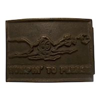 "Vintage ""Snortin Norton"" Camel Campbell 66 Express Belt Buckle"