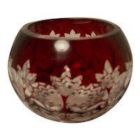 Vintage Ruby Red Cut to Clear Rose Bowl/Candle Bowl
