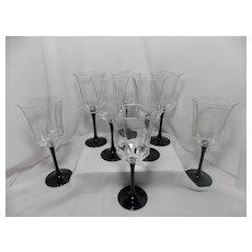 Vintage Set of 8 Black Stem Octime Luminarc Wine Glasses