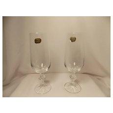 Vintage Pair Bohemia Crystal Toasting Glasses from Czechoslovakia