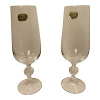 Vintage Pair Bohemia Crystal Toasting Glasses from Czechoslovakia