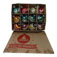 Vintage Lot of 12 Doubl-Glo Glass Christmas Ornaments