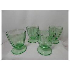 Vintage Rare Uranium Depression Glass Footed Dessert Cups