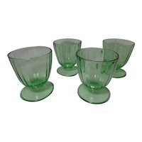 Vintage Rare Uranium Depression Glass Footed Dessert Cups