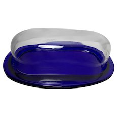 Vintage 1980's Pier One Cobalt Blue Covered Butter Dish with Clear Lid