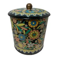 Vintage Flower Power Daher Made In England Tea Biscuit Enameled Container