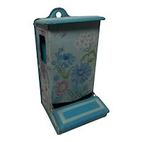 Vintage Jasco Blue Floral Tin Match Holder-Match Safe