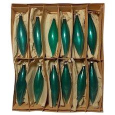 Vintage 1950's Mercury Glass West Germany Teardrop Christmas Ornaments