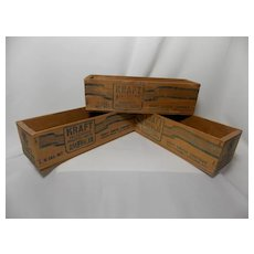 Vintage Set of 3 Kraft American Cheese 2 lb. Wooden Boxes