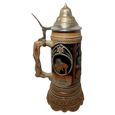 Vintage Mid-Century German Stein Hunter Motif with Music Box