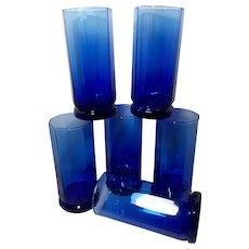 Anchor Hocking Cobalt Blue Essex 10 Panel Tea Glasses