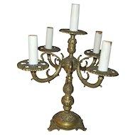 Vintage Bronze Tabletop Four Arm Candelabra