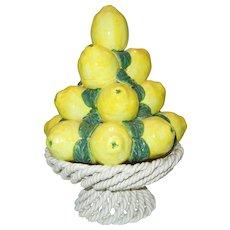 Old Italian Majolica Lemon Topiary in Basket