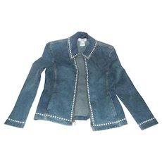 Vintage St. John Faux Pearl Trimmed Denim Jacket, Size Medium