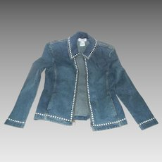 Vintage St. John Faux Pearl Trimmed Denim Jacket, Size Medium