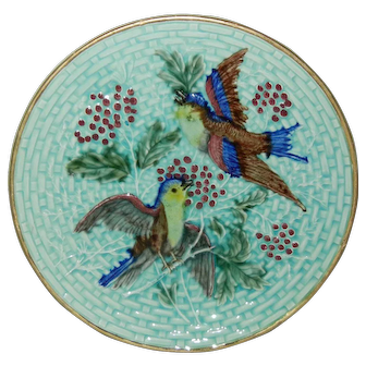 Antique Majolica Plate Birds Berries and Leaves in Relief