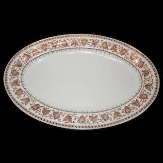 Large Antique Sarreguemines Platter with Flower Border