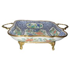Gorgeous Hand Painted Porcelain Centerpiece Bowl Gilt Bronze Mounts