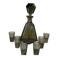 Black Crystal Decanter with Shot Glasses