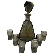 Black Crystal Decanter with Shot Glasses