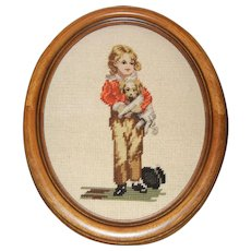 Needlepoint of Boy and his Dog