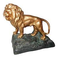 Gilded Spelter Lion Figure on Base