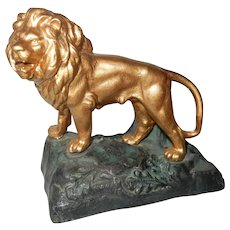 Gilded Spelter Lion Figure on Base