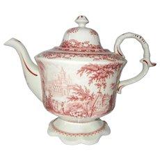 Gorgeous Red Transferware Teapot