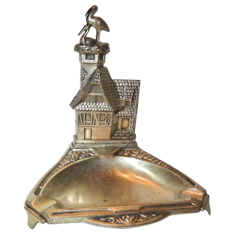 Charming Old French Ashtray with Storks
