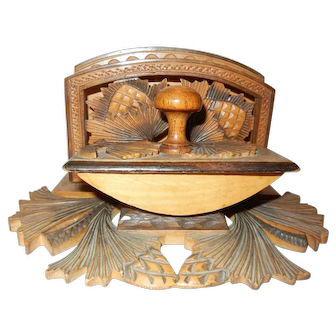 Carved Wooden Desk Set with Pine Cones
