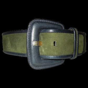 Vintage Escada Green Suede Belt