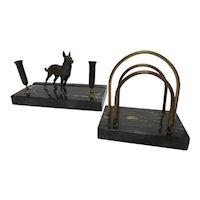 Black Marble Desk Set with Shepard Dog