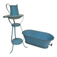 Tin Four Piece Doll Bath Tub with Matching Stand, Pitcher & Bowl