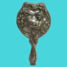 """Art Nouveau Floral Female Hand Mirror Silver """"Sterline"""""""
