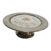 Silverplate Tazza Tray with China Mosaic Pattern of Roses