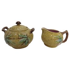 Vintage Majolica Bamboo Design Sugar Bowl & Creamer