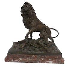 Magnificent French Bronze Lion Family Sculpture