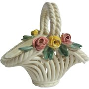 Charming Pottery Basket with Flowers for Dolly or Easter